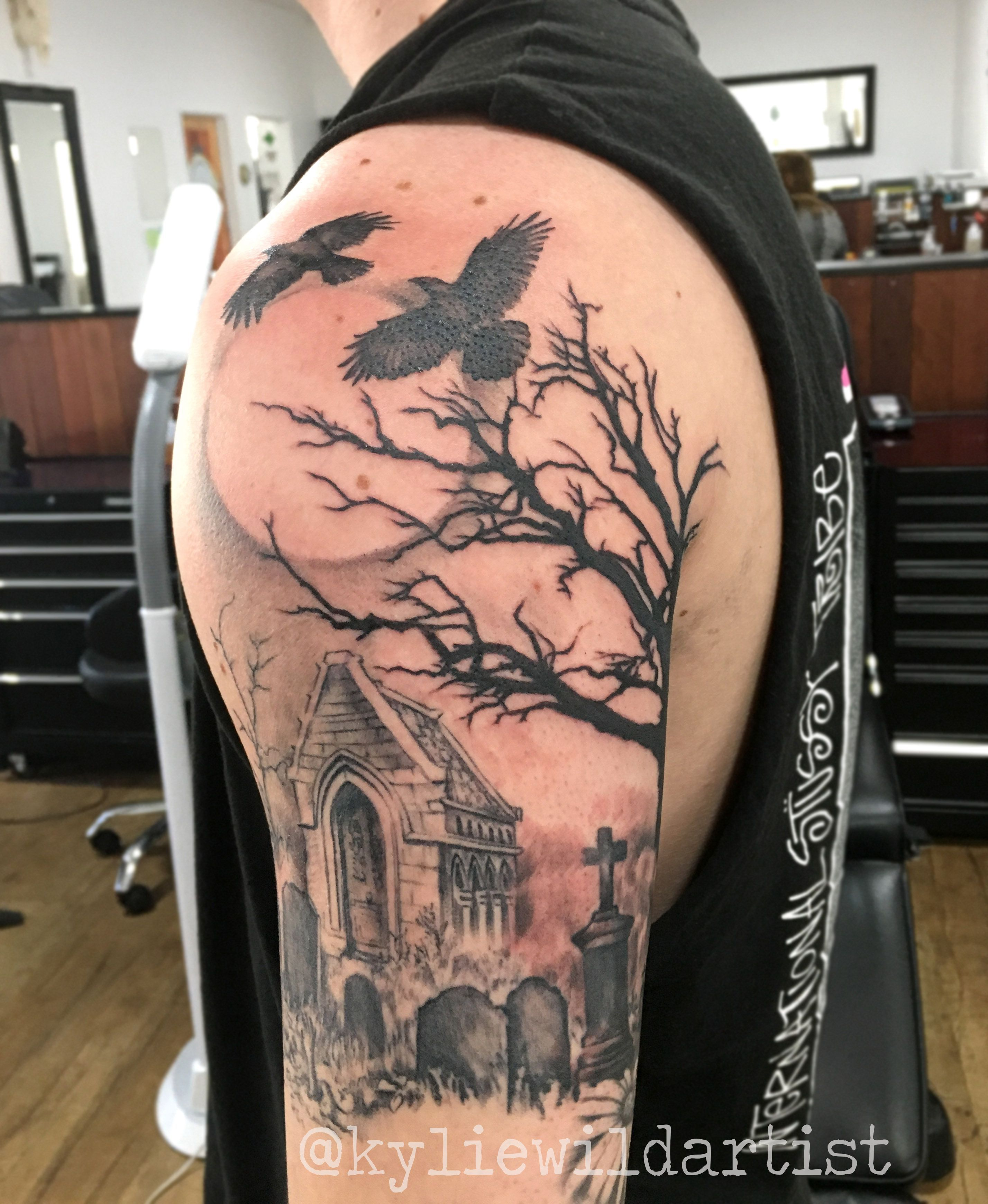Graveyard Tree Crows Moon Tombstones Tattoo Sleeve In Progress By Kylie Wild Heslop Canberra Australia Based Tattoo Scary Tattoos Tattoos Sleeve Tattoos
