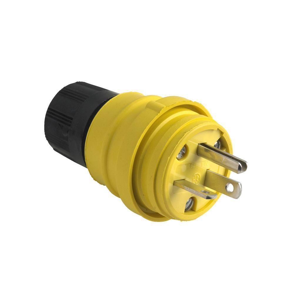 legrand pass & seymour 20 amp 125-volt watertight plug, black & yellow