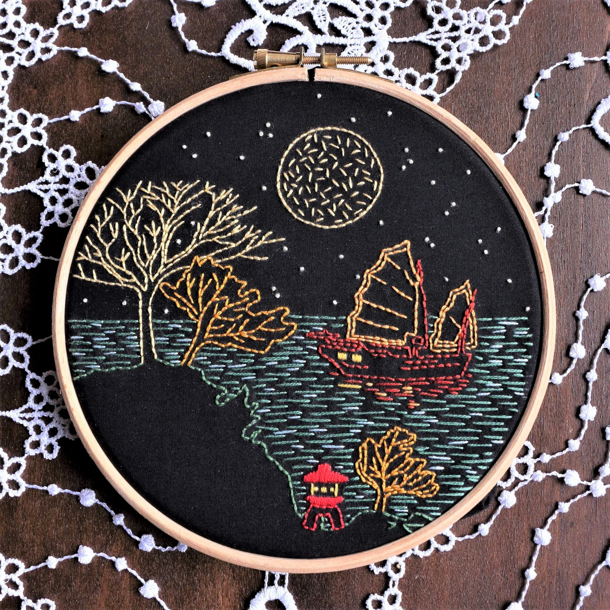 Moonlight design Gift for lovers Hand Embroidery kit  on purple fabric beginner needlepoint kit Embroidery pattern Modern hoop art