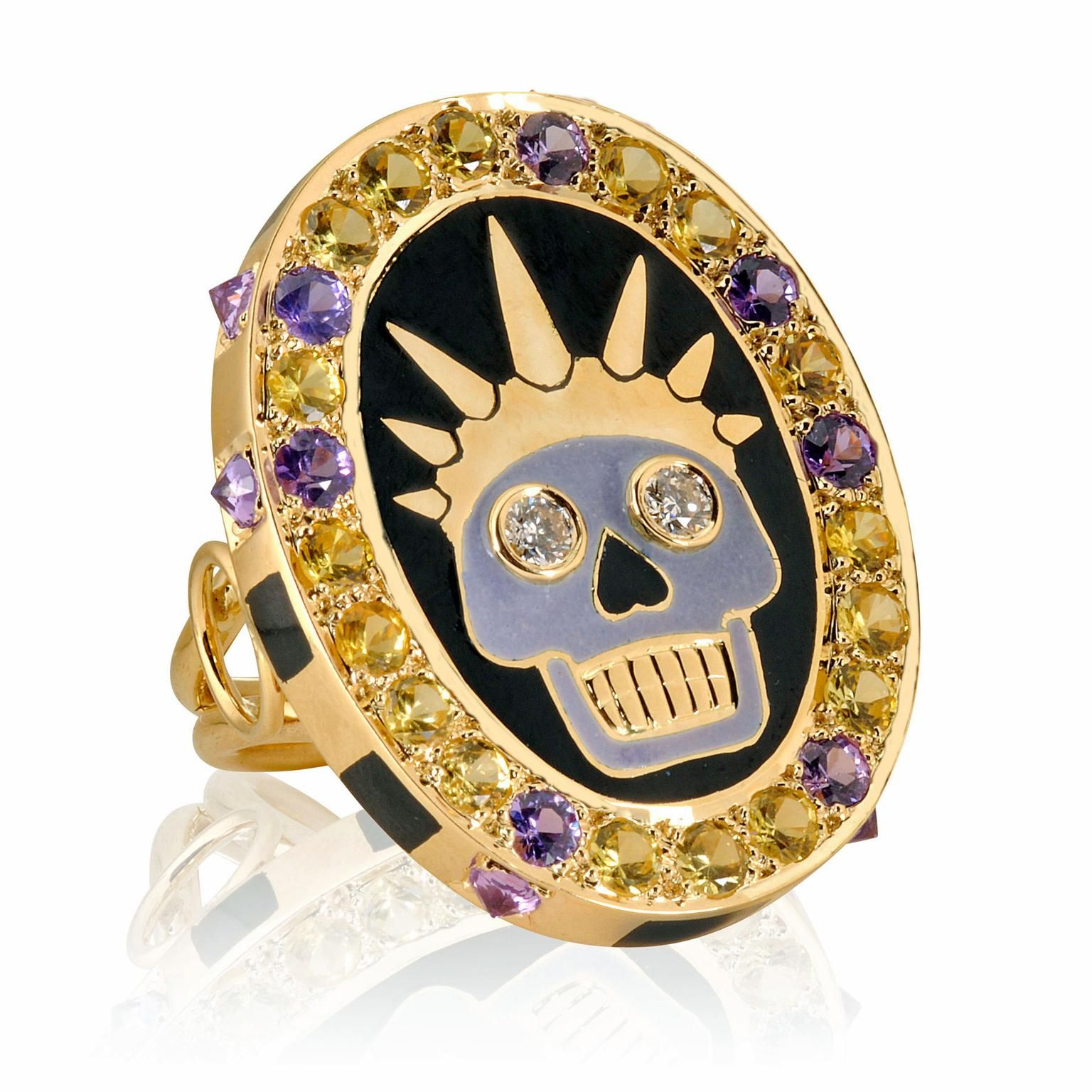 Holly Dyment 18k yellow gold Skull diamond sapphire ring Cheap Best Prices Enjoy Marketable Online For Sale Official Site dwBl4VPErm