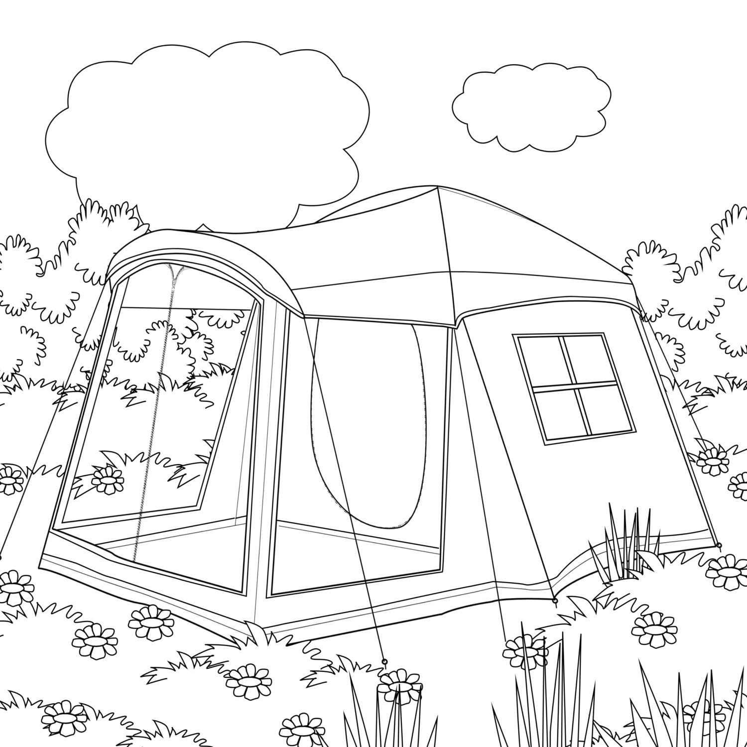 Printable Coloring Page Zentangle Camping Coloring Book Etsy In 2020 Coloring Pages Coloring Books Princess Coloring Pages