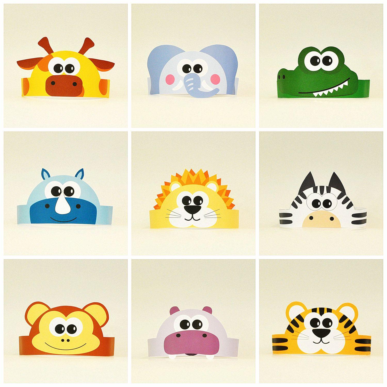 10 jungle and savanna animals paper crowns set 10 diy - Animaux de la jungle maternelle ...