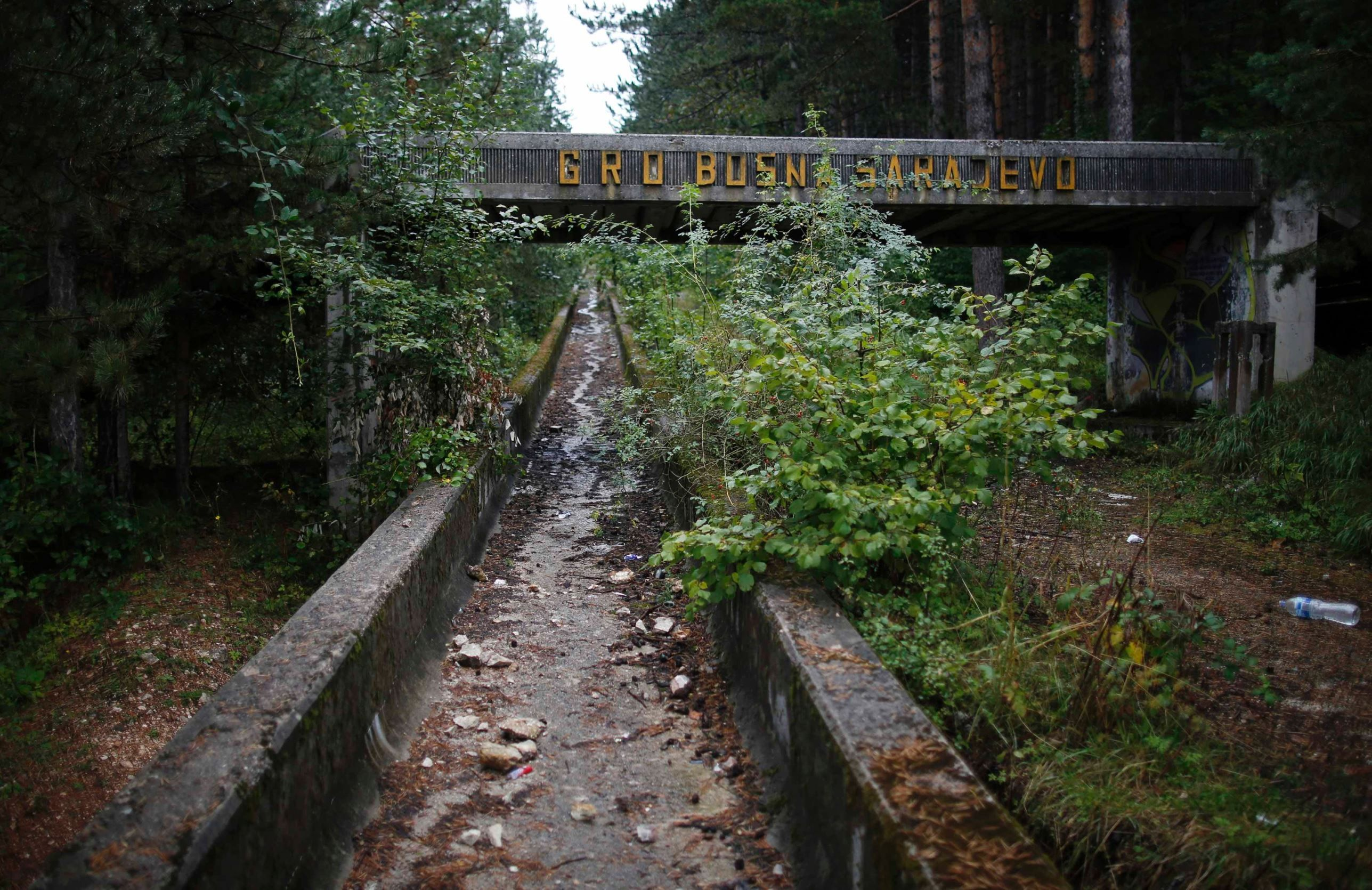 A disused bobsleigh track from the 1984 Winter Olympics held in Sarajevo, Bosnia and Herzegovina.