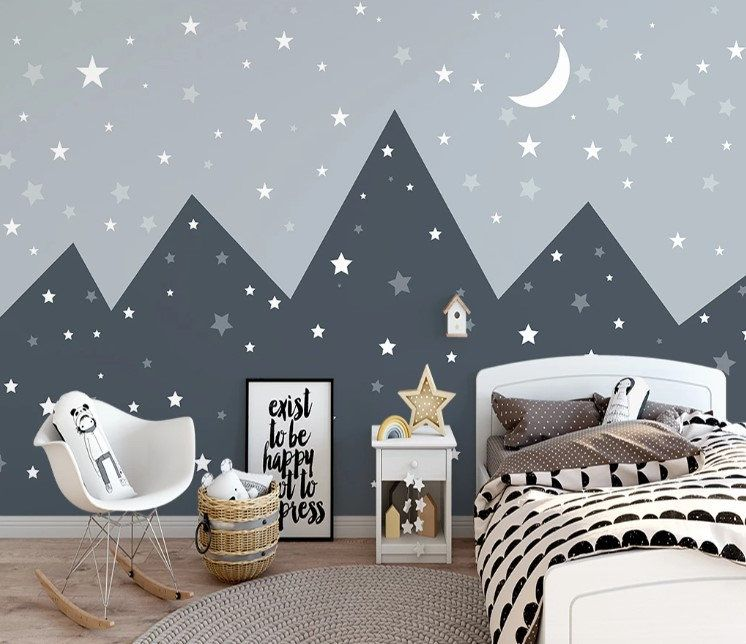 Triangle Row Of Mountains Midnight Sky And Stars Crescent Moon Etsy In 2021 Kids Room Murals Wallpaper Bedroom Home Decor