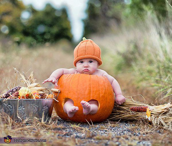 Disfraz de calabaza para Halloween con capucha para beb/é y ni/ña de una sola pieza