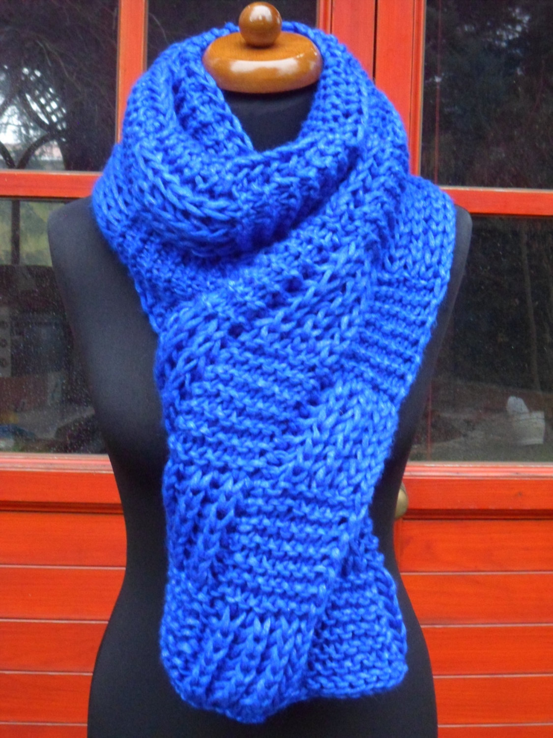 49.00$  Buy here - http://viwaq.justgood.pw/vig/item.php?t=afc32sl20962 - Infinity scarf, Blue knitted scarf, Chunky Oversized shawl, Thick blue Wrap 49.00$