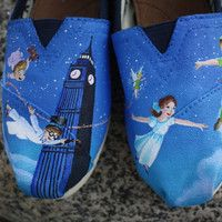 FAVORITE> Peter Pan Original Custom Acrylic Painting for Toms/Canvas Shoes