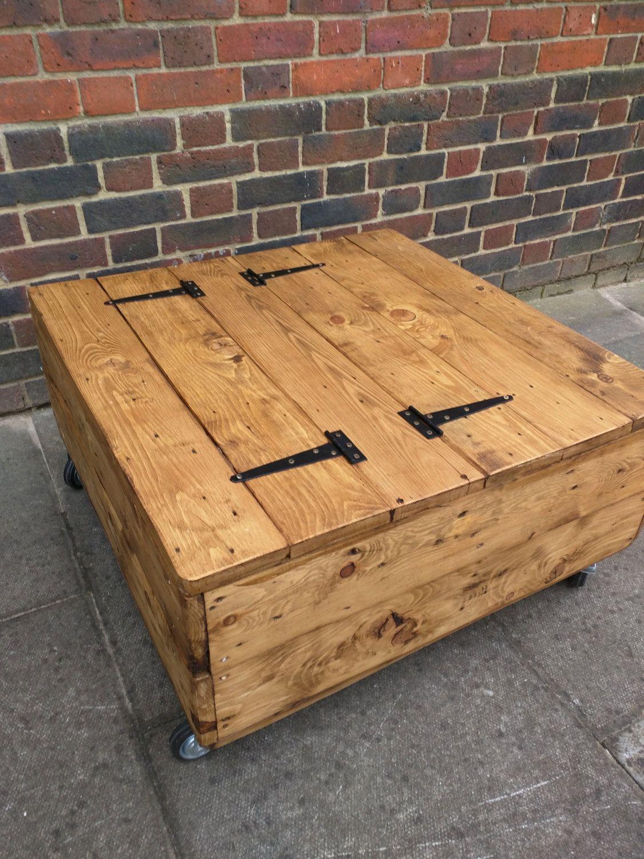 Medium Size Square Rustic Storage Coffee Table On Wheels Handmade