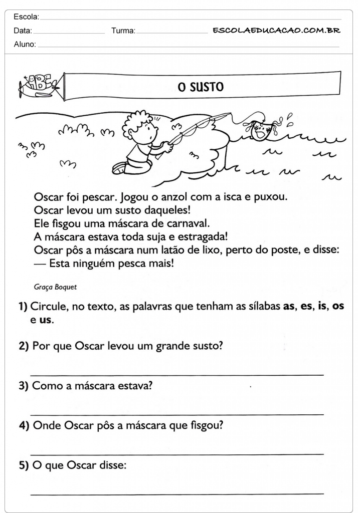 Populares Atividades de Interpretação de Texto 3º ano - O Susto | ingrid  QM52