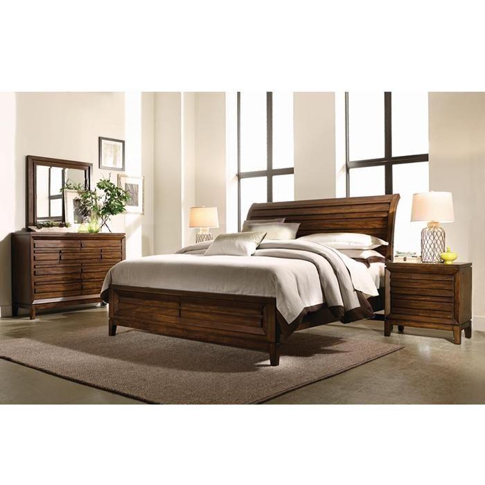 Best 4 Piece King Bedroom Set In Cinnamon Walnut Nebraska 400 x 300