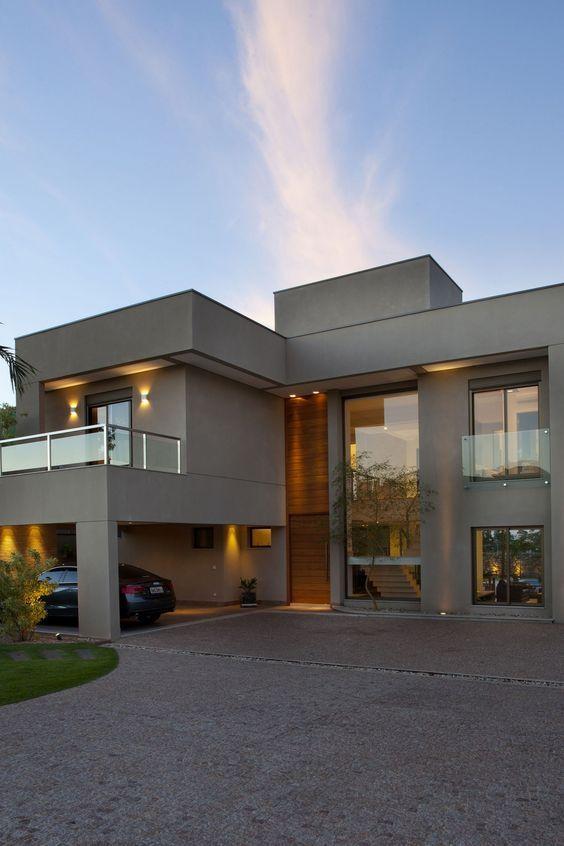 20 fachada de casa moderna doble altura fachadas de for Casas modernas con interiores contemporaneos