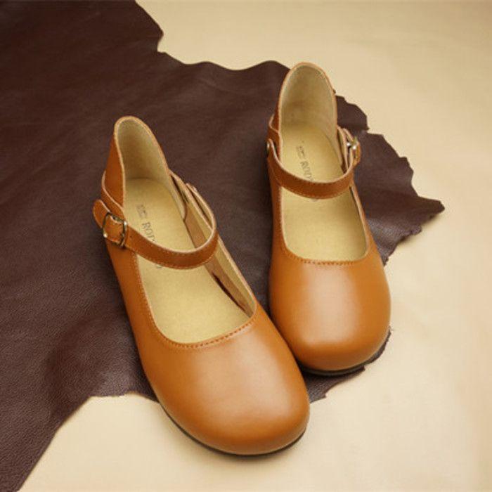 日系森系森女鞋文艺牛皮娃娃鞋日本圆头真皮…-堆糖,美好生活研究所