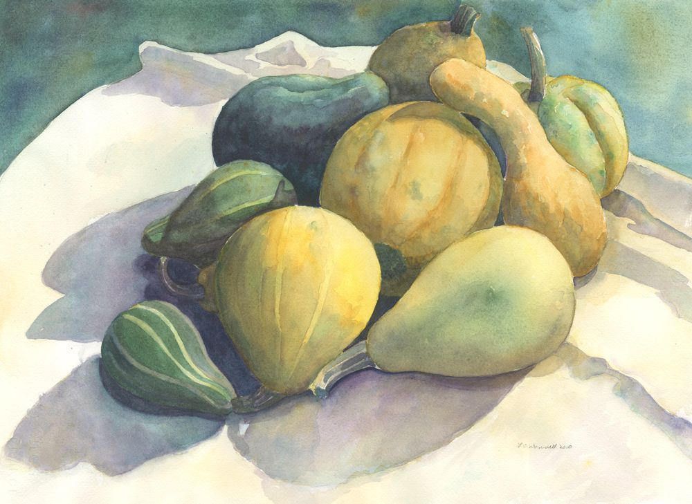 Fall Harvest, Original Watercolor, Louise O'Donnell