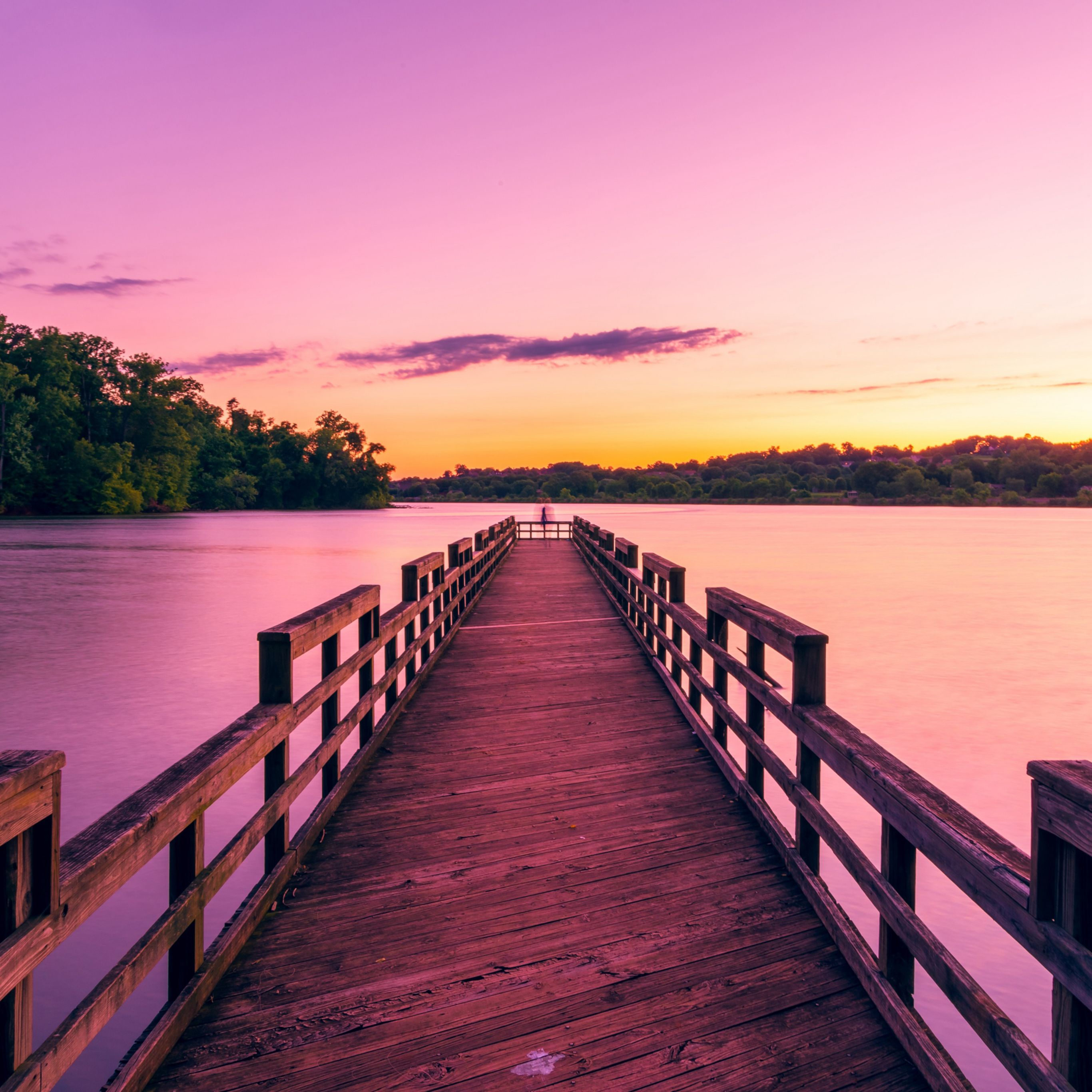 Pier Lake Sunset Sky Ipad Pro Wallpapers Sunset Sky Lake Sunset