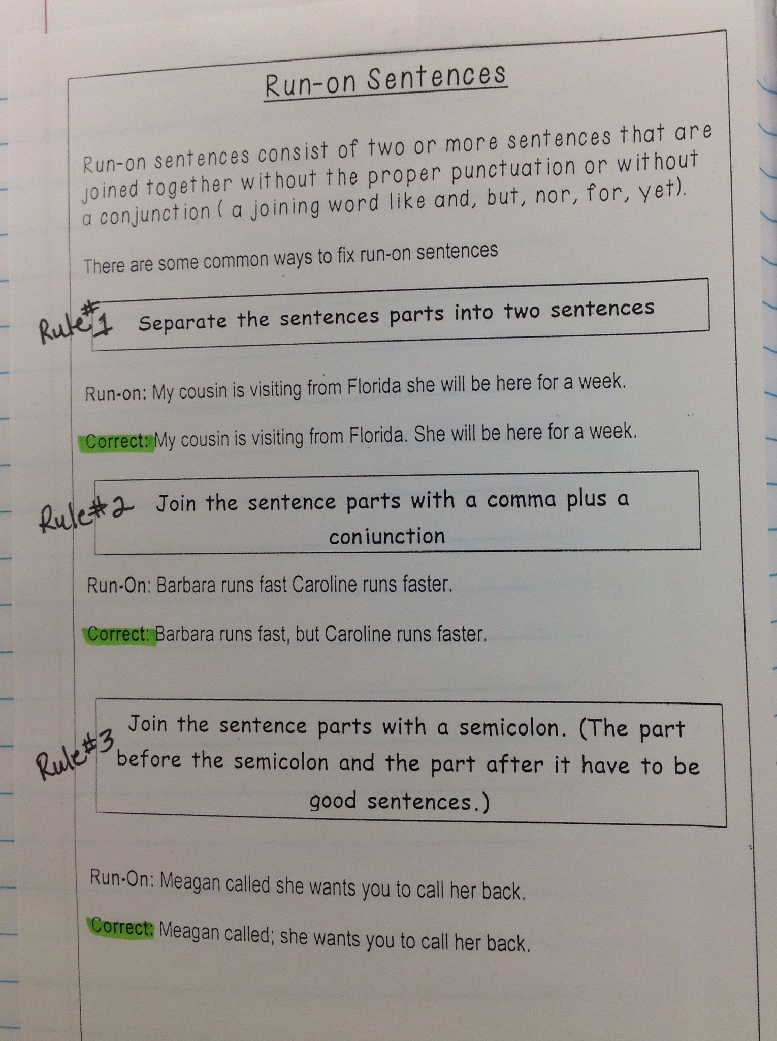 Run On Sentences 6th