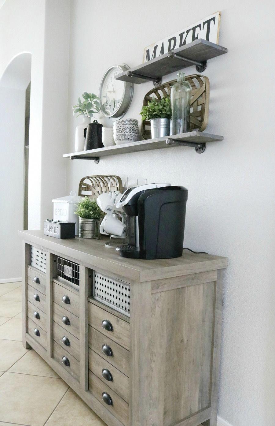 Modern Farmhouse Inspired Coffee Bar Station