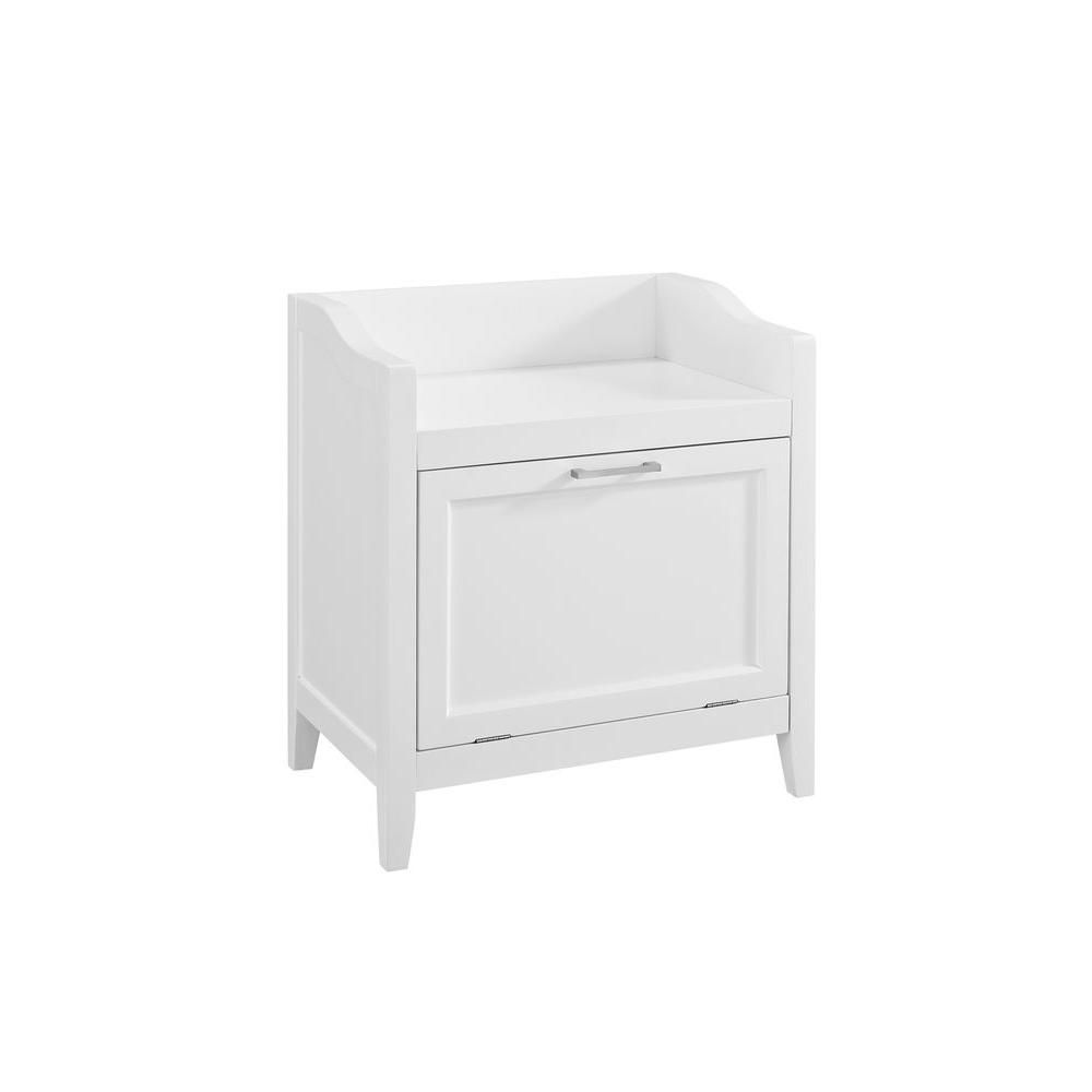Simpli Home Avington Ready To Assemble 21 7 In W X 24 2 In H X 15 In D Storage Hamper Bench In White Axcbc 004 Wh The Home Depot Hamper Storage Simpli Home Cabinet Shelving