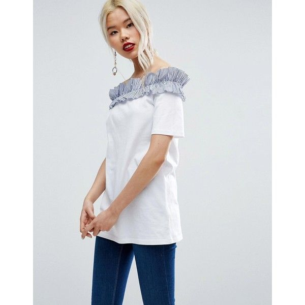 1c655aa856534c ASOS T-Shirt with Stripe Ruffle Off Shoulder (39 NZD) ❤ liked on ...