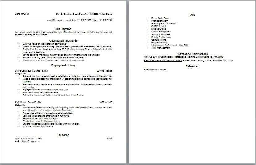 Babysitting in resume talktomartyb sample resume cover