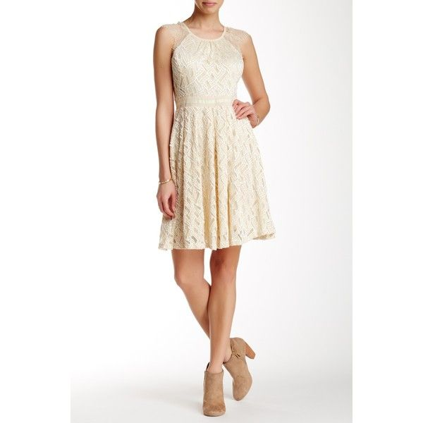 RYU Sleeveless Lace Inset Mini Dress ($60) ❤ liked on Polyvore featuring dresses, cream, sheer dress, cream cocktail dress, white mini dress, white sheer dress and white sleeveless dress