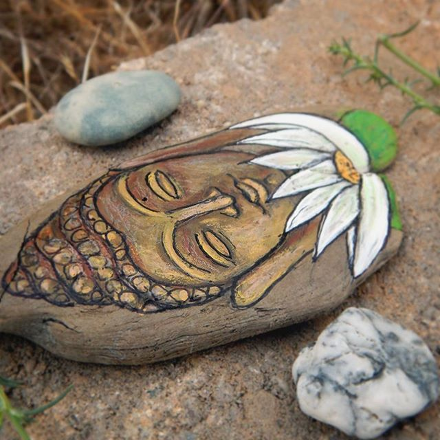 Buddha and white lotus painted driftwood.....serenity....enlightenment......... peace 💚🙏💚 Now available in the shop.