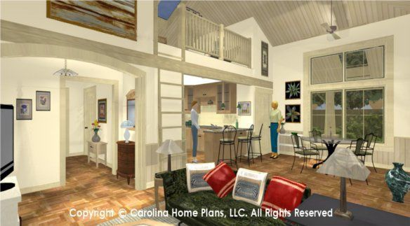 Compact 2 Bedroom 2 Bath Small House Plan With Cathedral