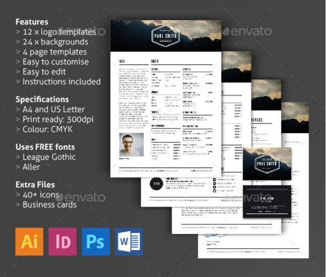20 Resume CV Templates in Indesign Word PSD Download - Designsmag - resume templates indesign