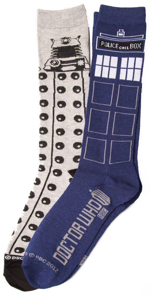 Doctor Who Tardis Dalek 2 Pack Socks, size 9-13