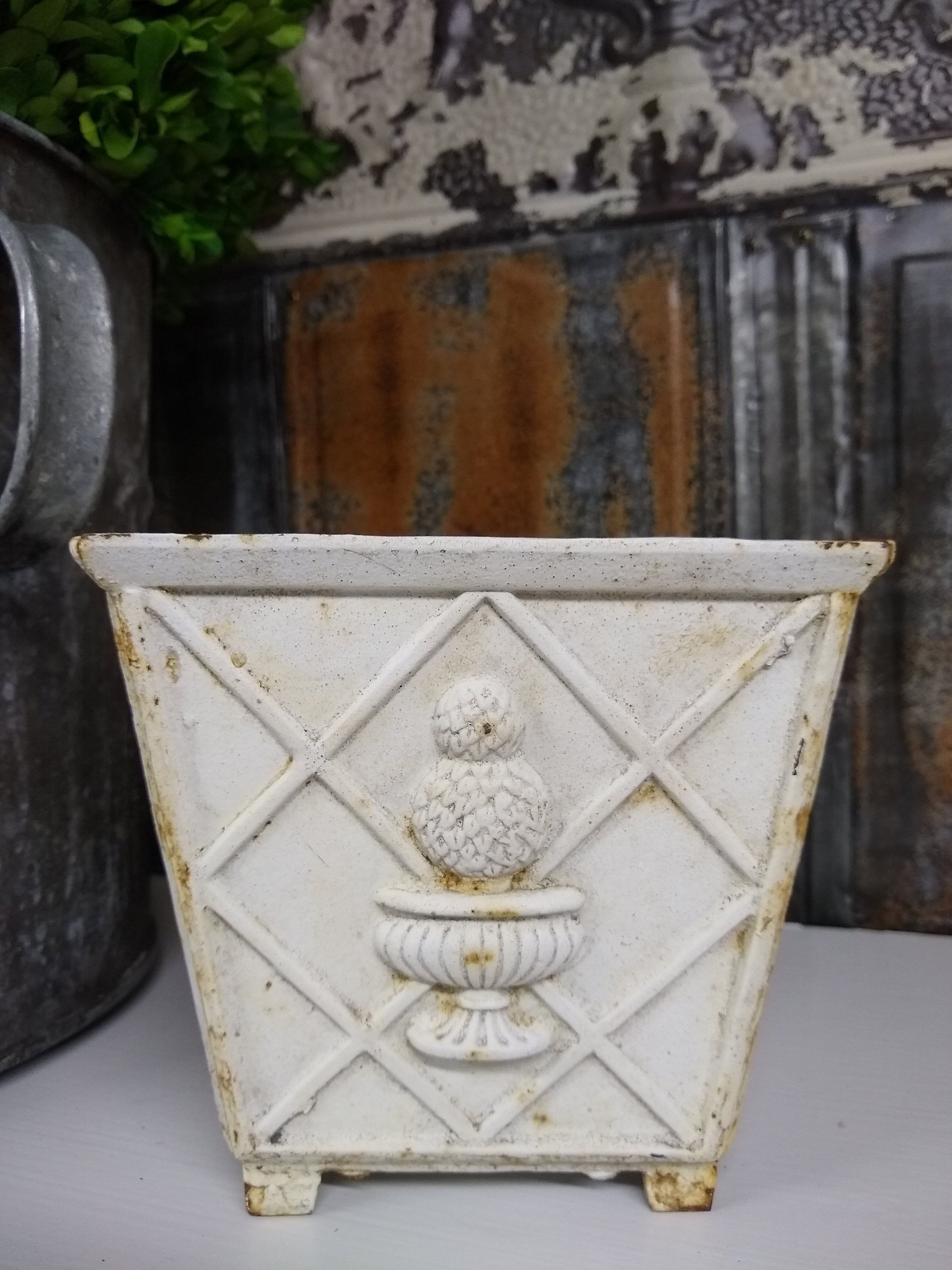 White Cast Iron Footed Planter With Topiary Detail White Planters It Cast Iron