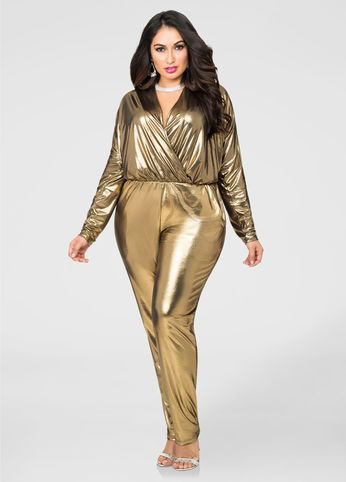 676c3c9c1a1 Metallic Lamé Surplice Jumpsuit in 2019
