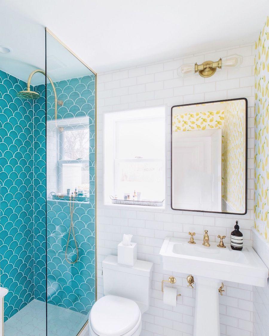 Fish Scale Tile Turquoise Bathroom Beach Home Turquoise Bathroom Beach Theme Bathroom Beach House Bathroom