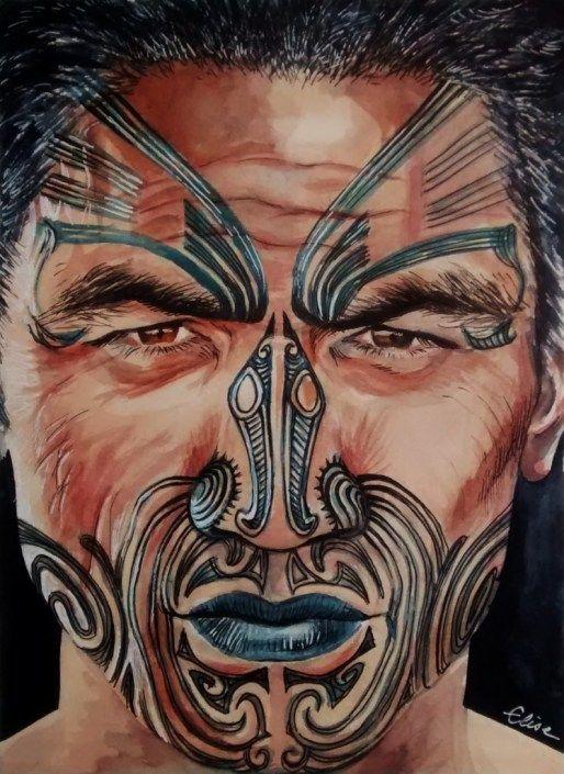 dessin d un maori de nouvelle z lande au visage tatou. Black Bedroom Furniture Sets. Home Design Ideas