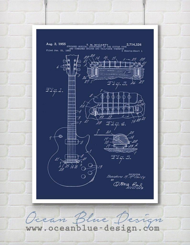 Blueprint guitar gibson les paul 1955 blue or black gifts blueprint guitar gibson les paul 1955 blue or black malvernweather Gallery