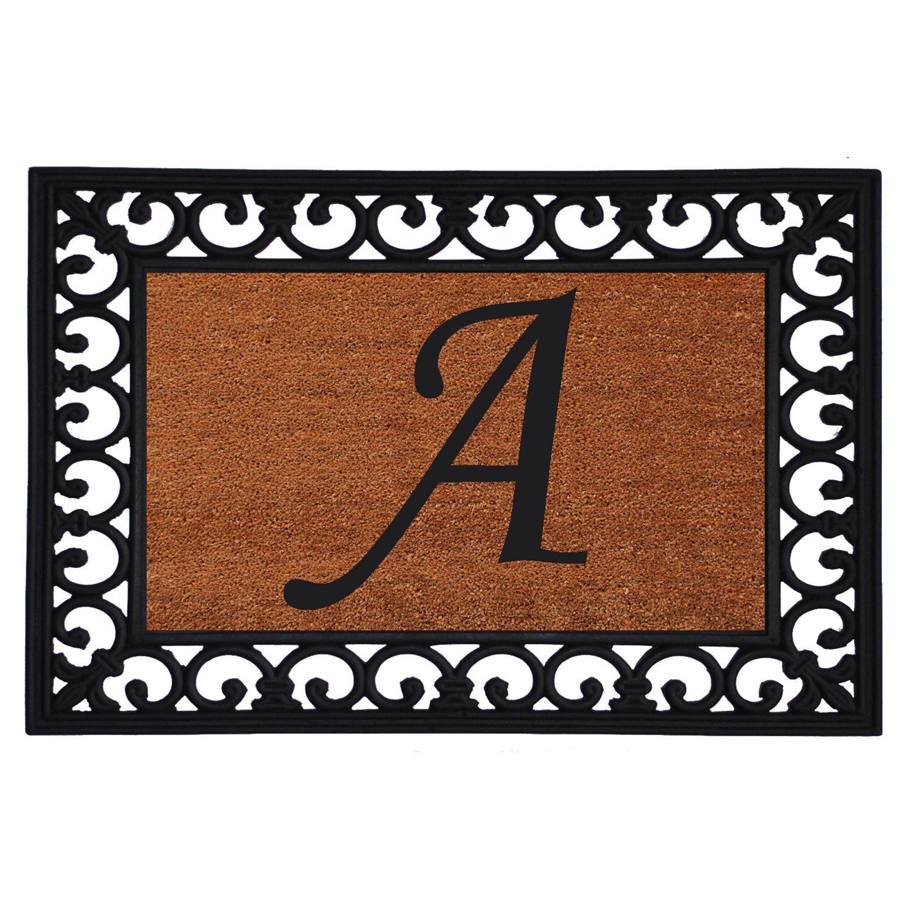 Home u more monogram insert door mat x in a