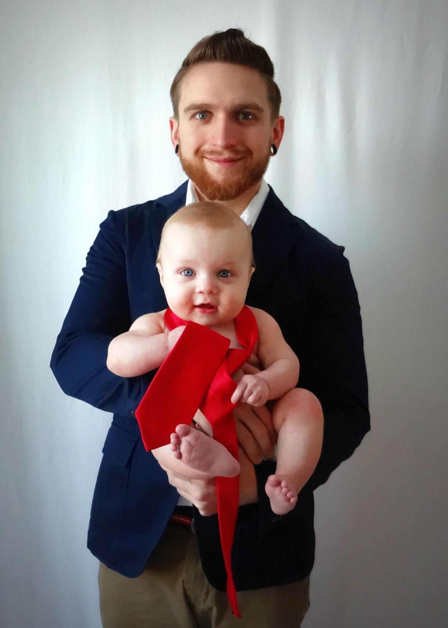 Cute father son pose