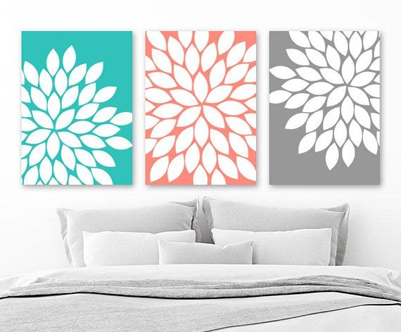 turquoise coral gray flower wall art canvas or prints flower coral rh pinterest ca Green Gray and Coral Bathrooms Gray and White Bathrooms