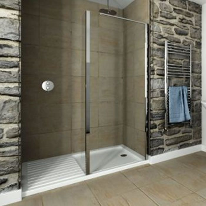 Recess Walk-In 1600 x 800mm Acrylic Shower Tray With 1000mm Glass ...