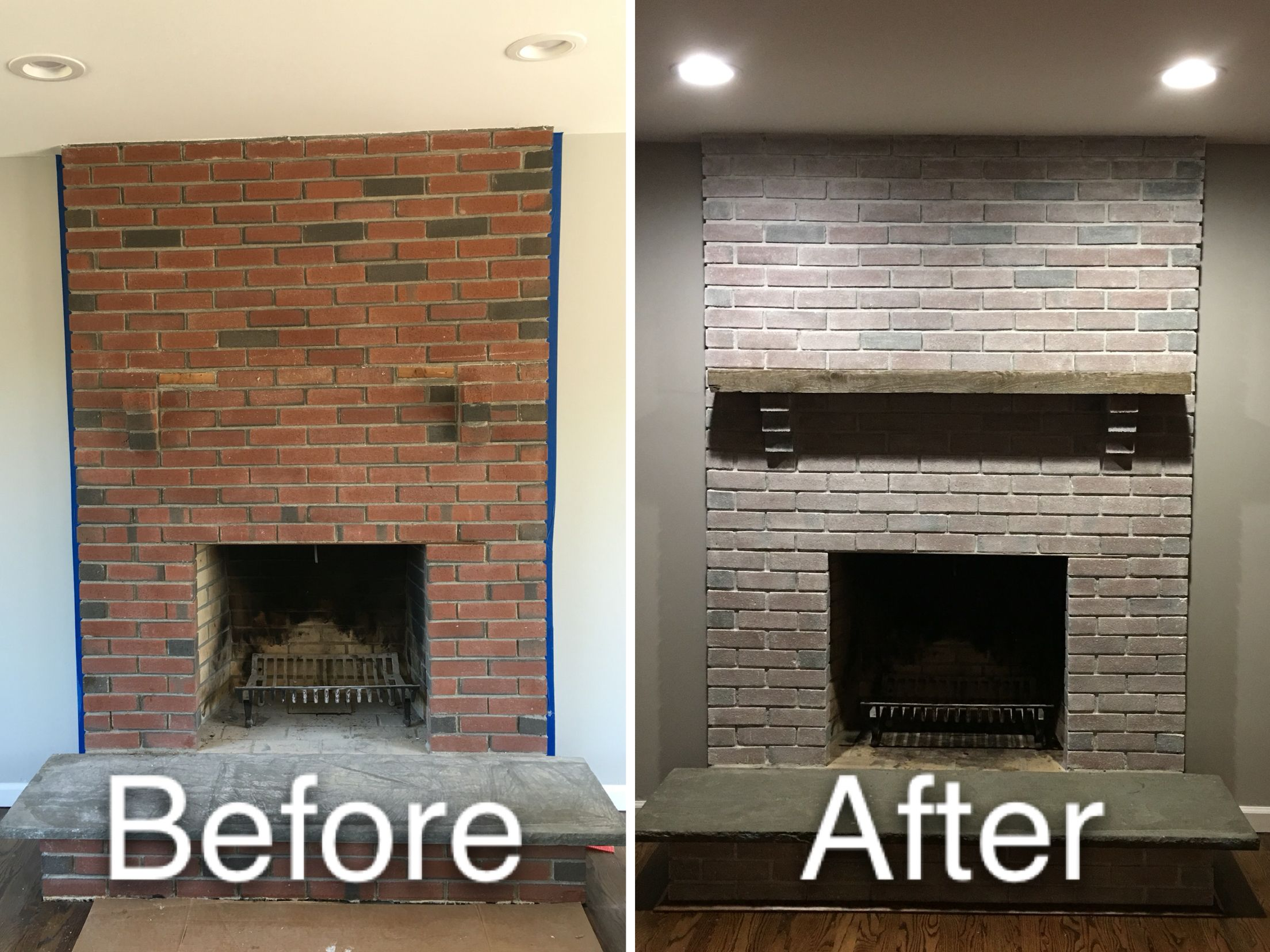 Whitewash Fireplace Before And After White Washed Fireplace With Drift Wood Cedar Mantle Updated