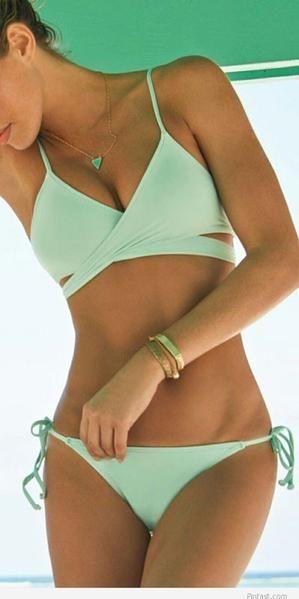 Photo of New Mint Green Bandage Push-up Bikini Set Padded Bra Triangle Swimsuit