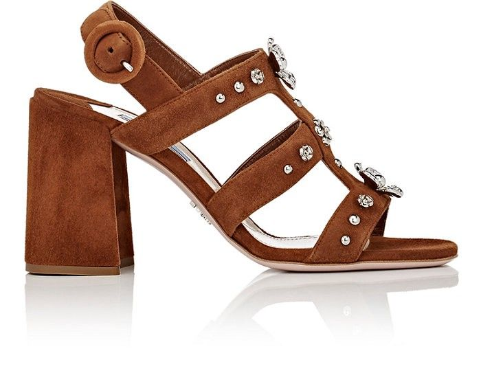 Embellished suede sandals Prada
