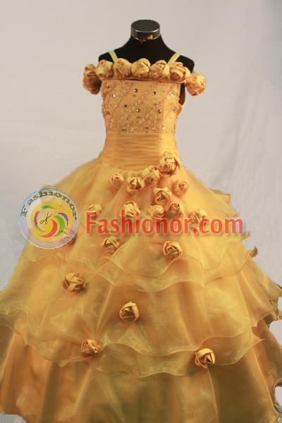 Romantic Ball gown Straps Floor-length Flower Girl Dresses Style FA-C-117