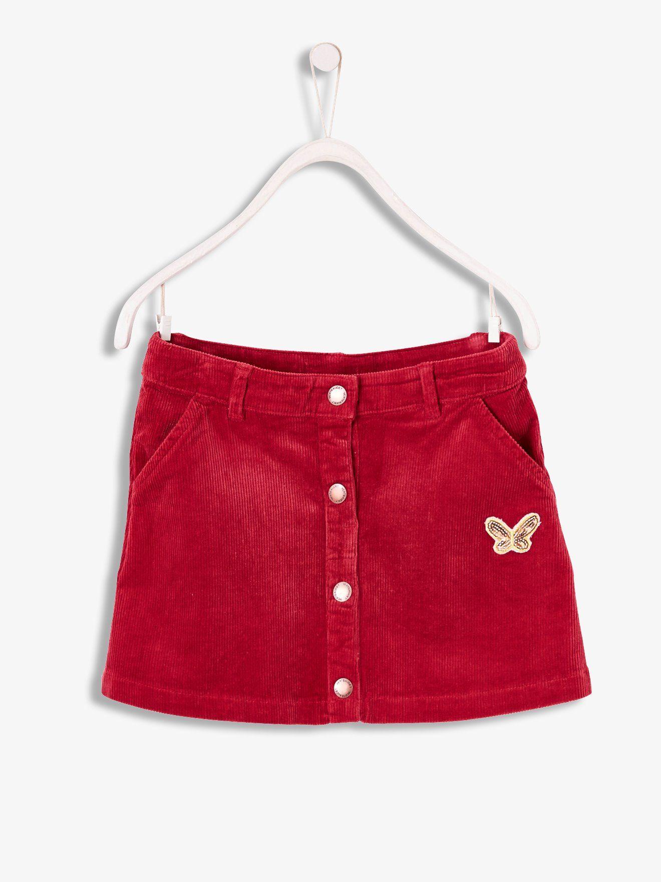 be4af9bafdde4 Jupe fille en velours framboise - Des petits boutons et un joli papillon  illuminent cette jupe