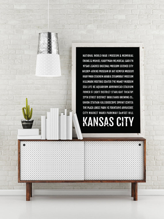 Kansas city print kansas city subway sign poster kc wall art kansas city print kansas city subway sign poster kc wall art dcor canvas gift bus scroll typography minimal custom personalized negle Image collections