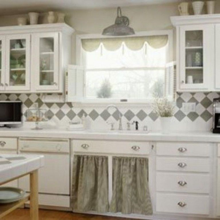 40 famous grey and white kitchen curtains ideas #kitchen #kitchendecor #kitchendeco… | cottage