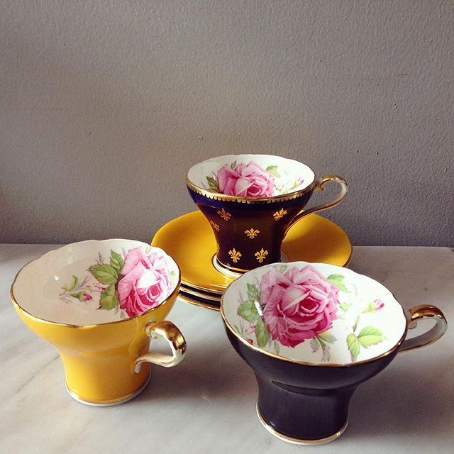 Vintage Teacups in Corset Shape by Aynsley
