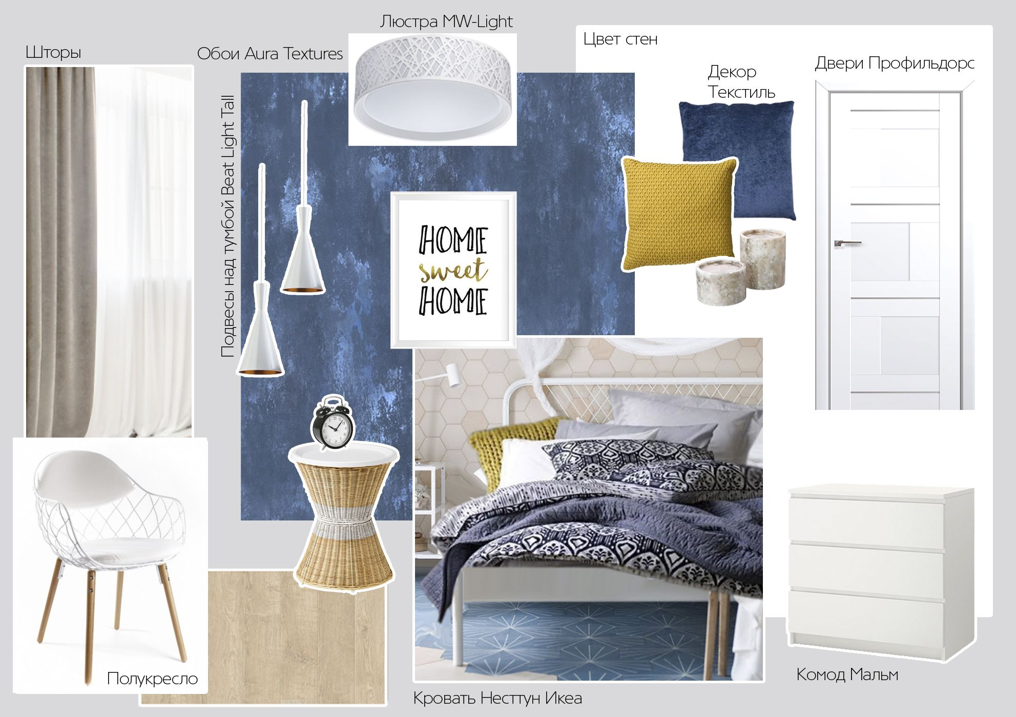 Mood board bedroom blue Scandinavian modern bright