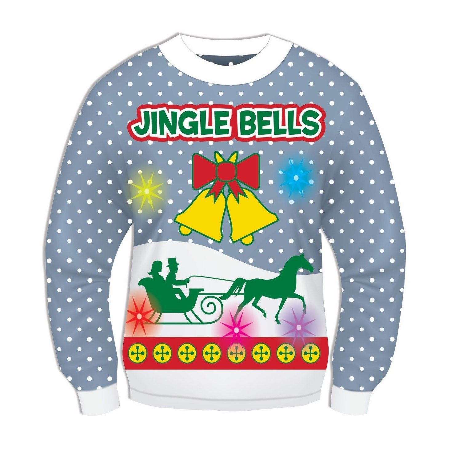 Blue Musical Light Up Jingle Bells Adult Ugly Christmas Sweater Large