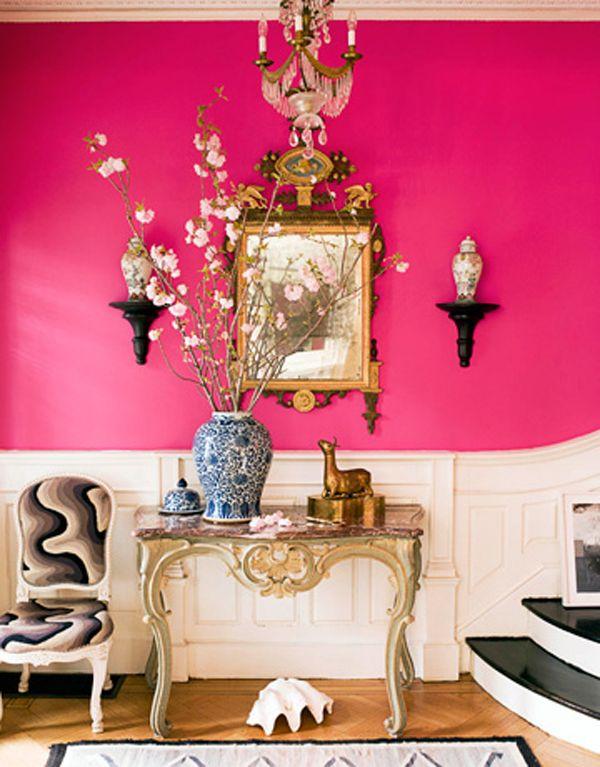 Pop Of Color Hot Pink Walls Pink Room Pink Walls