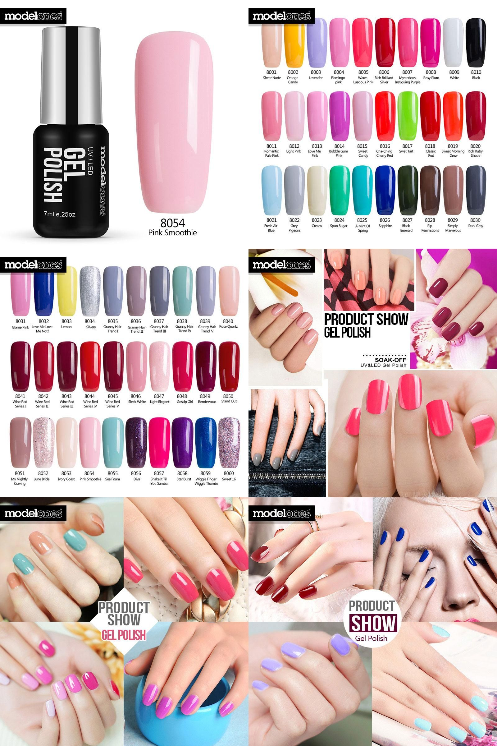 Visit To Buy Modelones French Manicure Kit Pink Color Uv Nail Gel