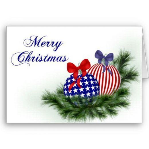 patriotic christmas card of christmas bulbs with american flag motif - Patriotic Christmas Cards